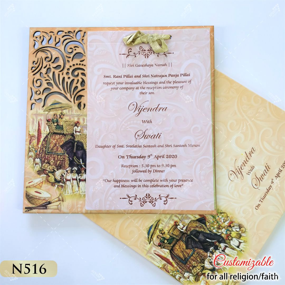 indian bride and groom theme wedding invitation