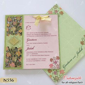 lotus theme lasercut pink and sea green colour invitation