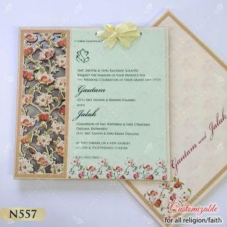 floral intricate lasercut work on mdf board hardcover card