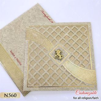 traditional tamil wedding card in golden with two pages