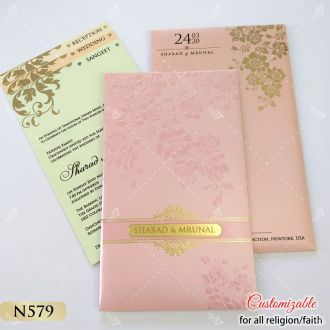 baby pink long style invitation with pastel inserts