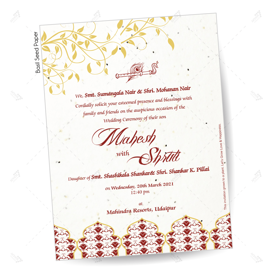 basil leaves plantable seed paper invitation design