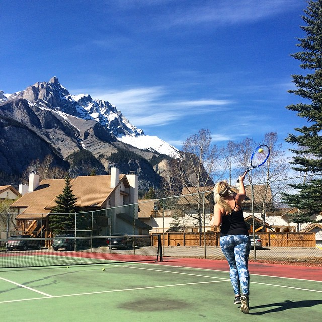 Playing Tennis at Banff Rocky Mountain Resort, Banff, Canada