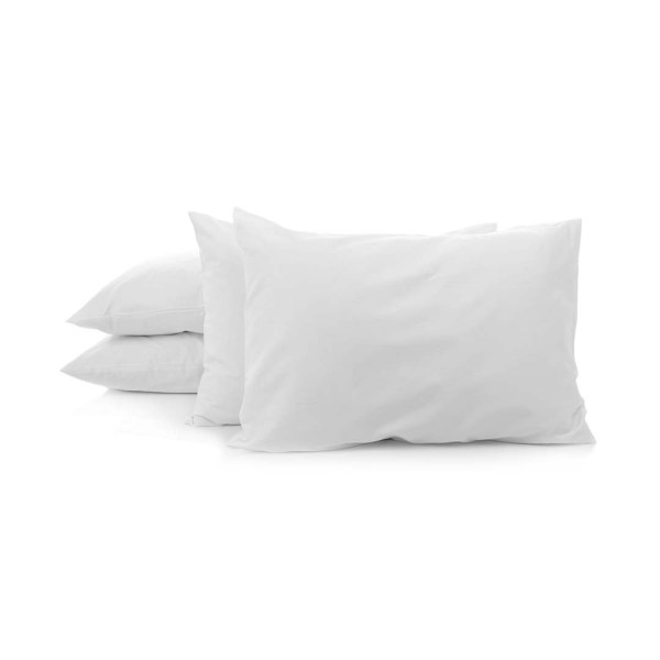 four pillows with plain pillow cases