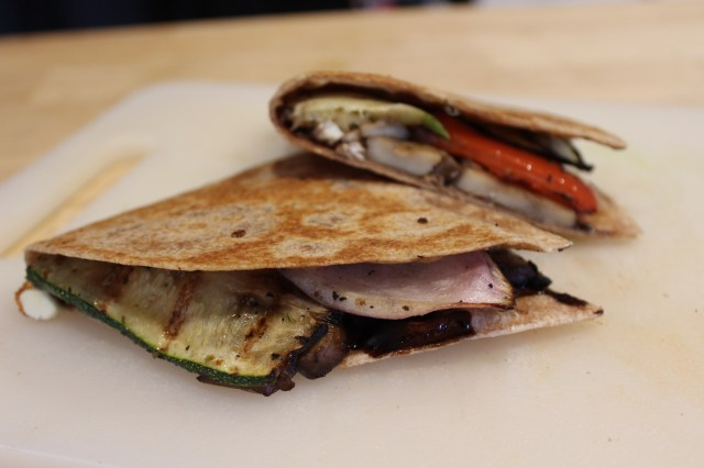 Grilled Vegetable Quesadilla with feta and balsamic