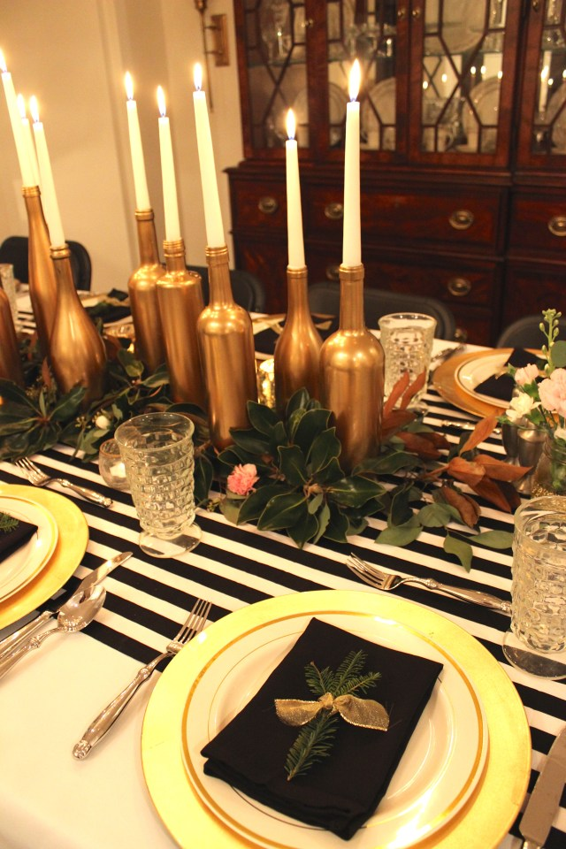 table setting for 30th birthday party; black gold and white decor