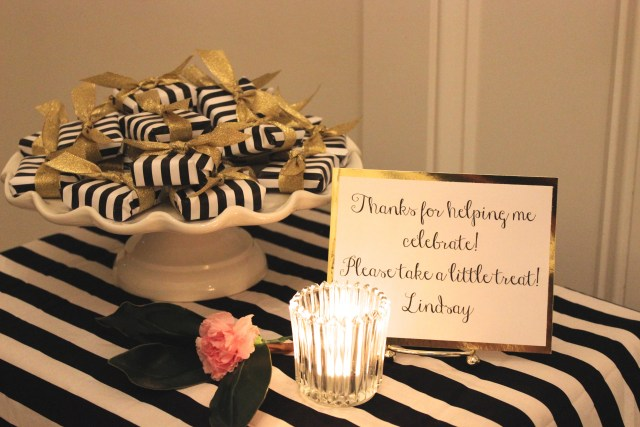black and gold birthday party favors