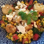 Warm Corn, Kale, Tomato Salad with Shrimp and Feta
