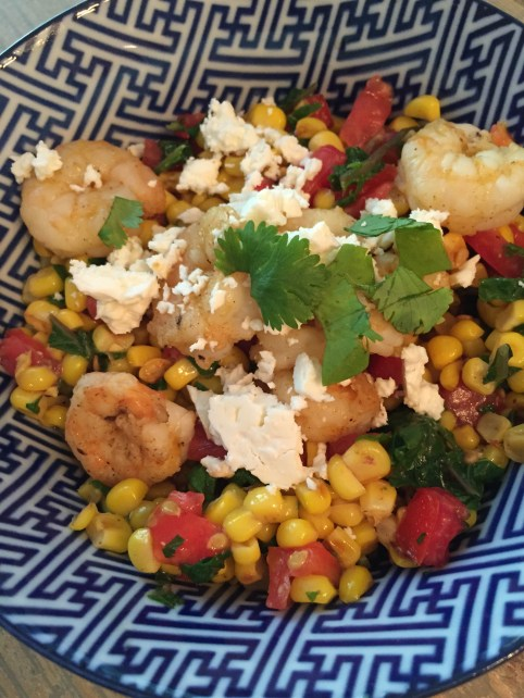 corn and tomato salad with shrimp