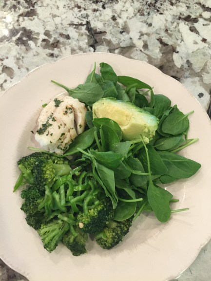 green vegetables and fish