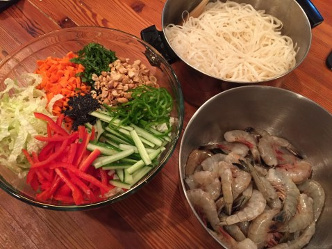prep for asian noodle salad with shrimp