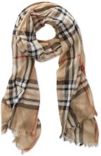 lightweight, gauzy tan plaid scarf