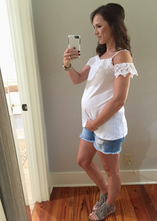 maternity off the shoulder top