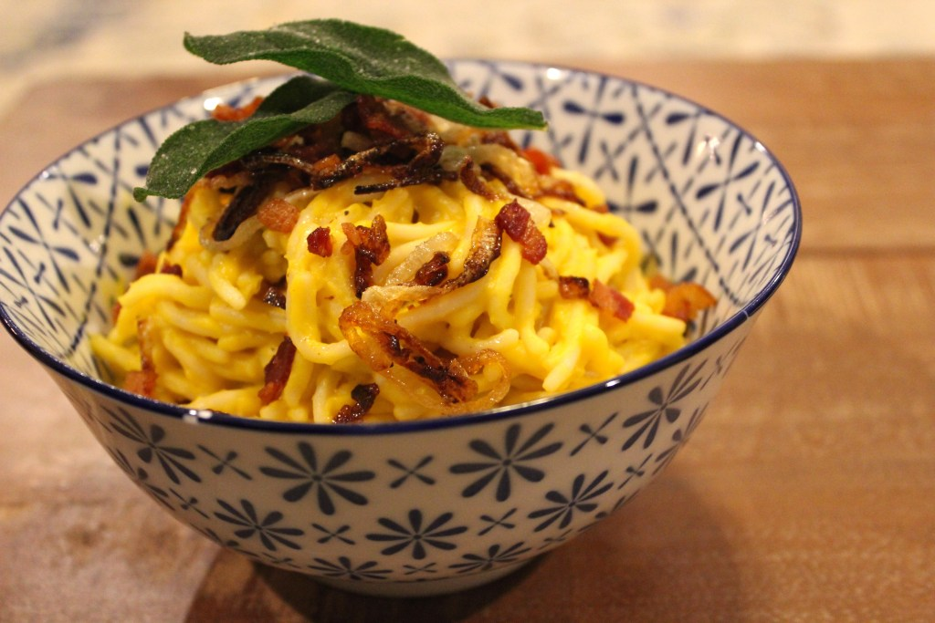 creamy butternut squash carbonara recipe dairy free and gluten free