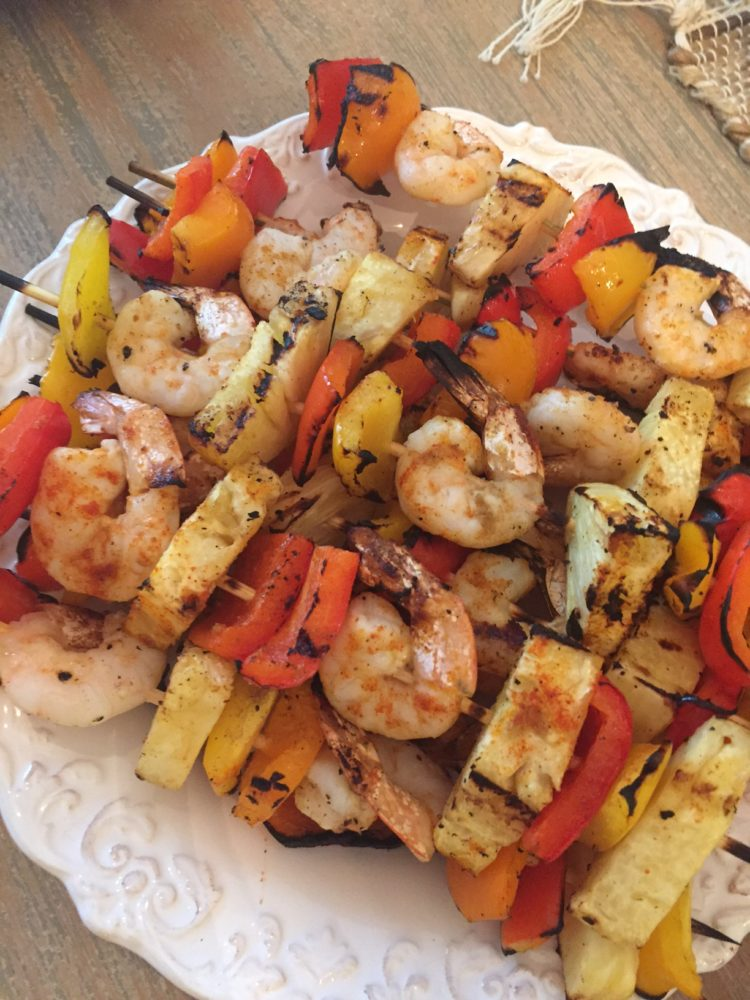 whole 30 shrimp and pineapple kabobs