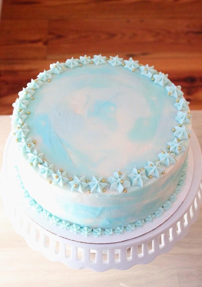 Watercolor Birthday Cake Tutorial; vanilla cream cheese buttercream