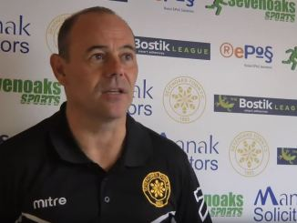 Micky Collins gives a post-match interview