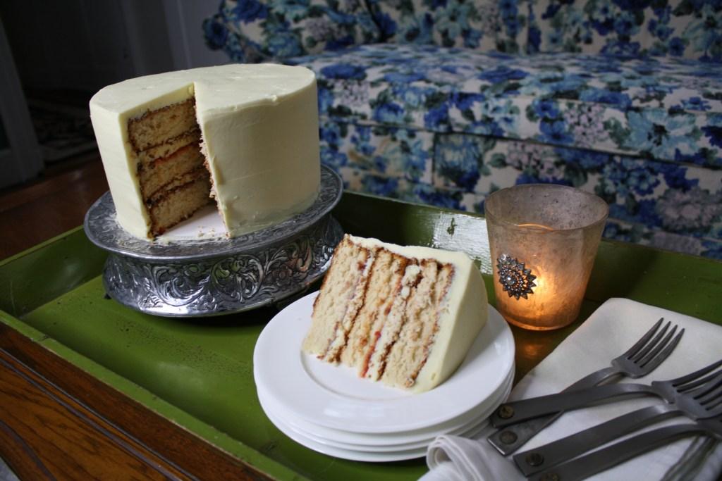 Roasted Corn Ganache on Vanilla Cake