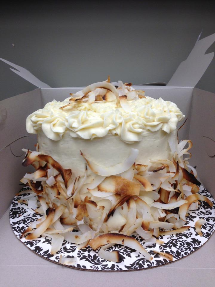 Fresh Brûlée'd Coconut Cake