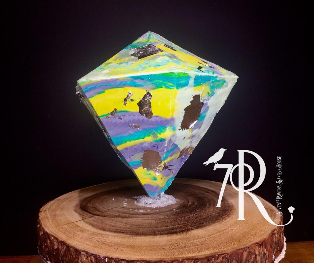 Diamond Cake with Silver Leaf
