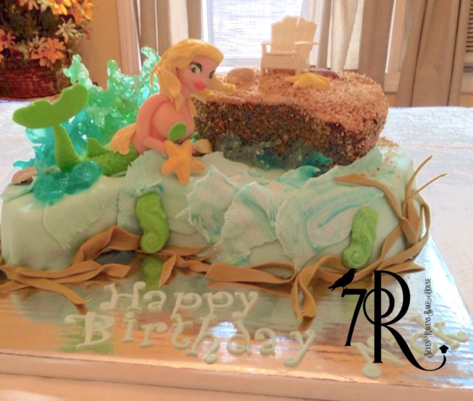 Mermaid and Beach Birthday Cake