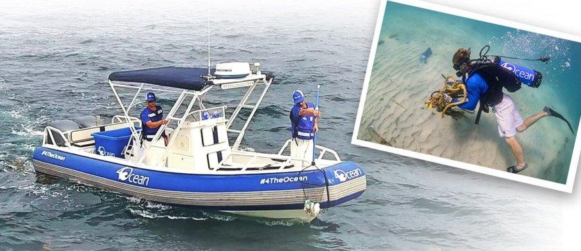 4ocean boat on sevenseas media cleaning up marine litter