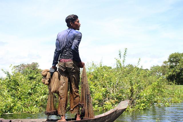 man in wetlands