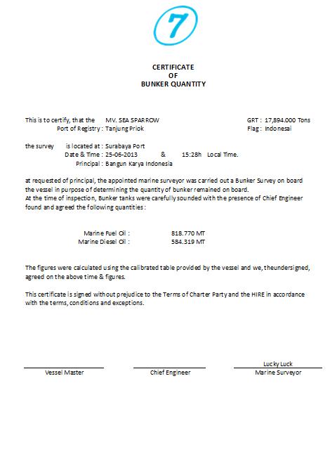 Bunker Survey form 2 | Marine Surveyor Information