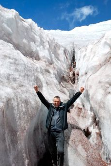 Jeremy at the glacier, Volcan Cotopaxi
