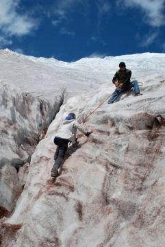 Climbing onto the glacier, Volcan Cotopaxi, Ecuador