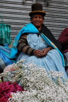 Clara's mum Carmen Mamani de Espejo, a cholita who cultivates and sells flowers in La Paz.