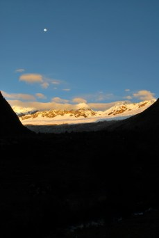 The moon was still up when we were getting ready to leave in the morning. Santa Cruz trek, Cordillera Blanca, Peru
