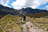 Paula storms uphill like an Andean goat (or something), Santa Cruz trek, Cordillera Blanca, Peru