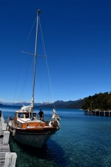 Our boat docks at Arrayanes National Park, Lago Nahuel Huapi, Argentina.