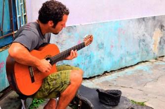 Street performer at the Selaron steps, Rio de Janeiro.