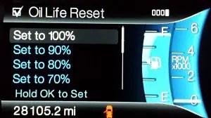 change engine oil life reset