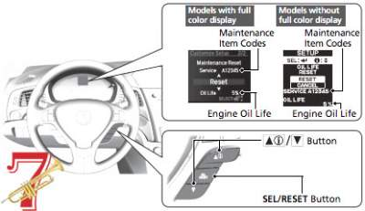 acura oil maintenance reset button