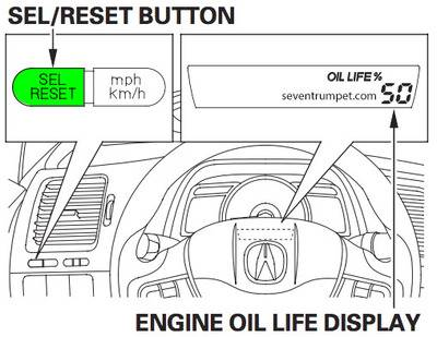 acura oil life service light reset