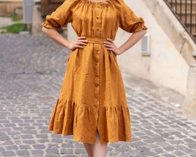 Ľanové riasené šaty s gumičkou-ESTER