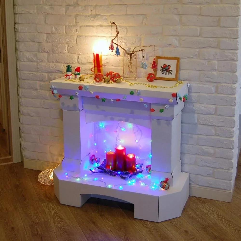 Жаңа жылдық Камин декоры