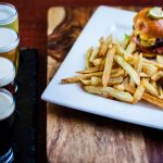 Draft Beer Flight and Sliders with Fries
