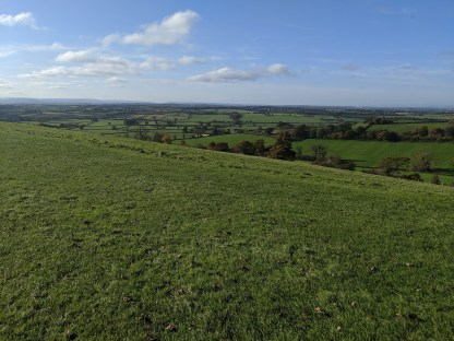 Looking west from Dyrham Park on the Cotswold escarpment towards Wales