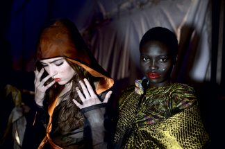 JOHANNESBURG, SOUTH AFRICA - MARCH 31: Models wait backstage before a show with designer Clive Rundle at Joburg Fashion Week on March 31, 2012, in Johannesburg, South Africa. (Photo by Per-Anders Pettersson)