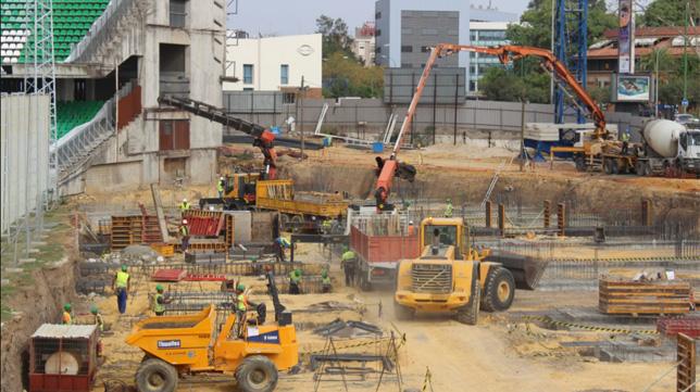 Las obras del nuevo Gol Sur del estadio Benito Villamarín siguen avanzando (Foto: RBB)