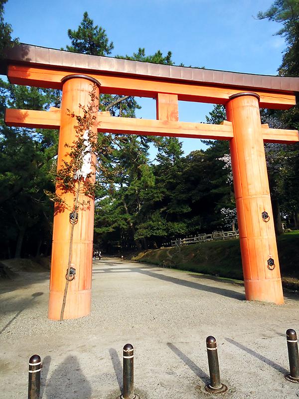 Tori de entrada do parque de Nara