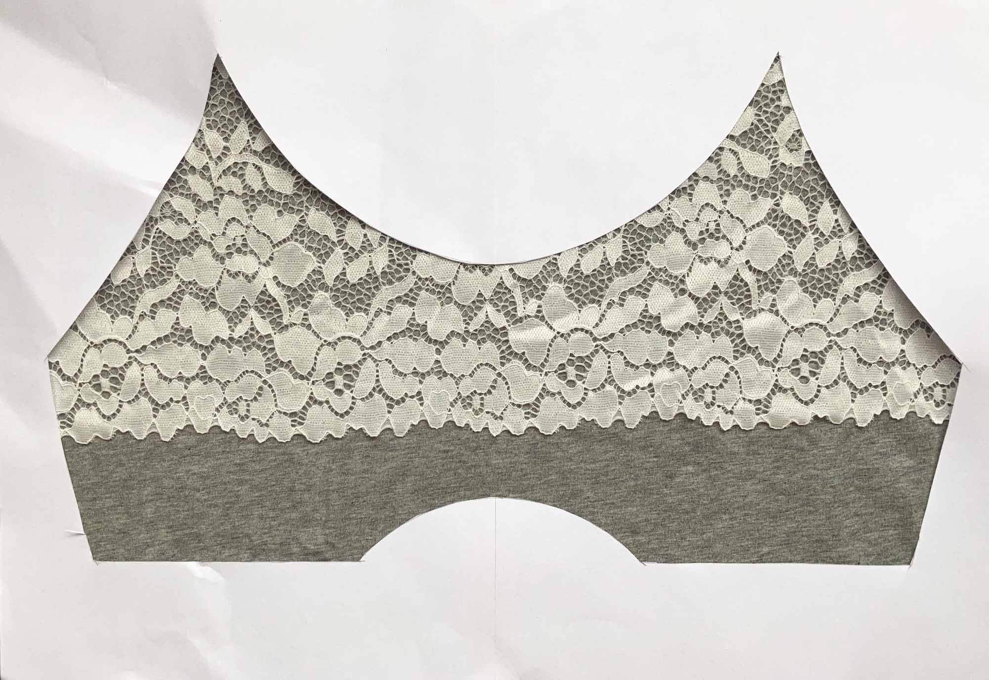Cutting out the inside of the Bralette pattern piece