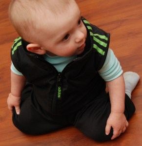 Ninja style up-cycled tracksuit in action