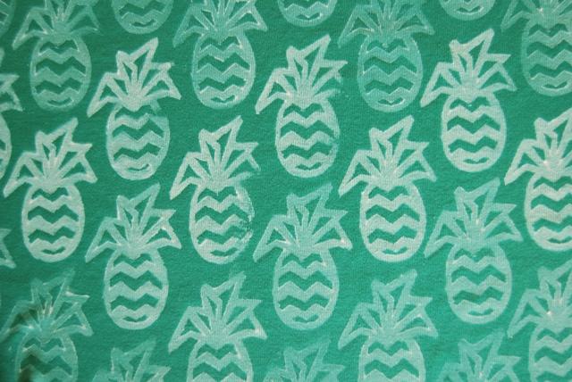 Hand printed pineapple fabric at www.sew4bub.com