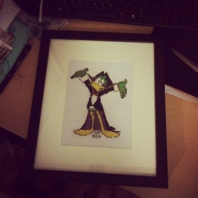 Count Duckula large cross stitch for a family member of the artist who created him.