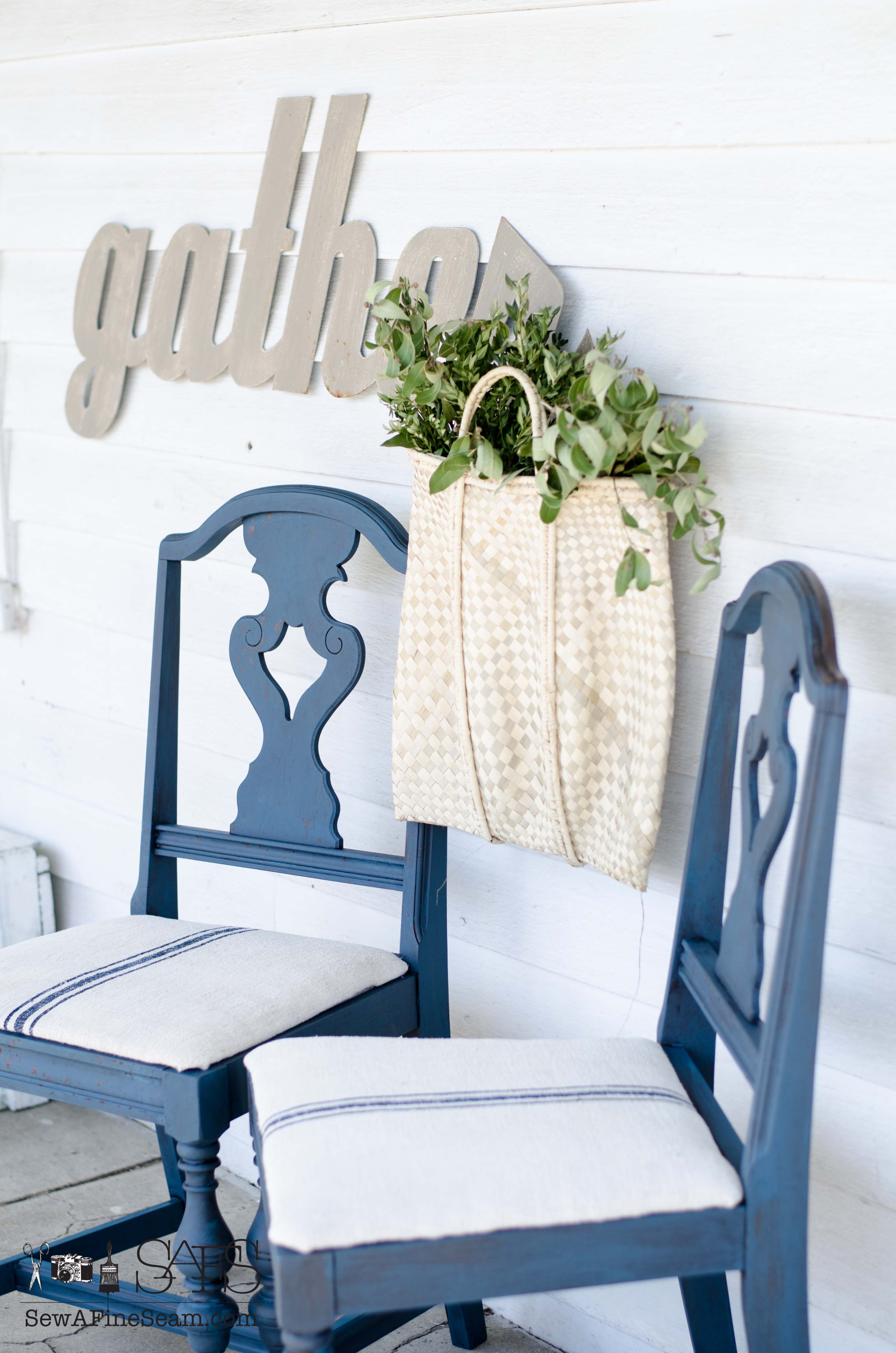 Grain Sack Chair Milk Paint And Grain Sack Makeover Project Challenge 4 Sew A
